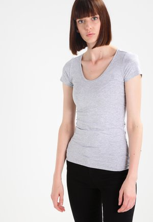 BASE - Jednoduché triko - grey htr