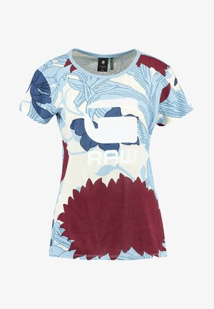 LINDELLY R T WMN S\S - Print T-shirt - off white/siali blue