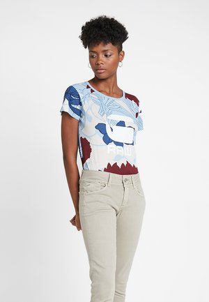 LINDELLY R T WMN S\S - T-shirt print - off white/siali blue