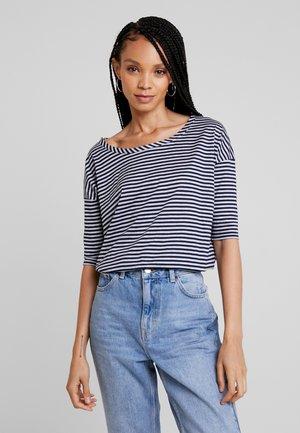 VIM LOOSE R T WMN 1\2 SLV - T-shirt med print - grey htr/mazarine blue stripe
