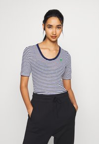 G-Star - SILBER SLIM - T-shirt print - milk/imperial blue stripe - 0