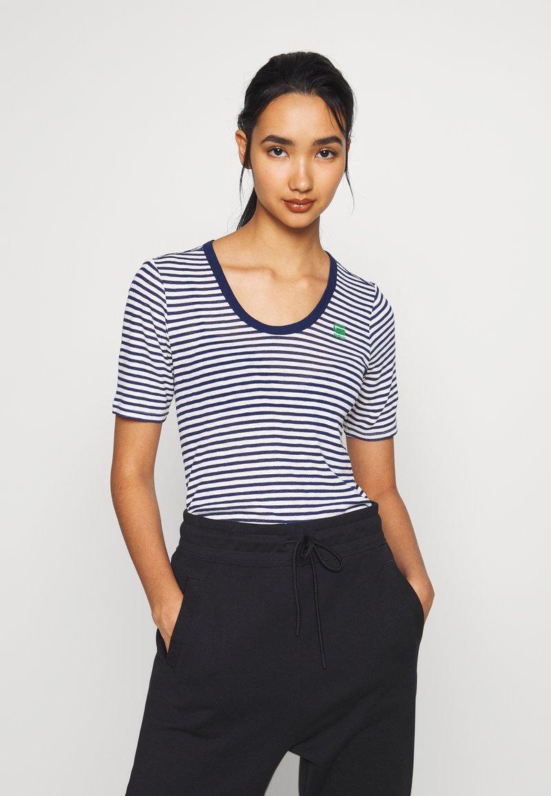 G-Star - SILBER SLIM - T-shirt print - milk/imperial blue stripe