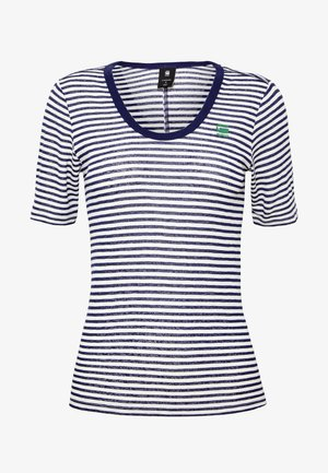 SILBER SLIM U-NECK T-SHIRT - T-shirt med print - milk/imperial blue stripe
