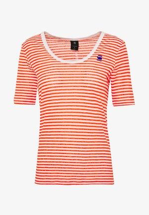 SILBER SLIM U-NECK T-SHIRT - T-shirts print - milk/acid orange
