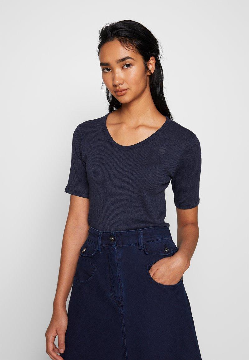 G-Star - SILBER SLIM - Print T-shirt - servant blue