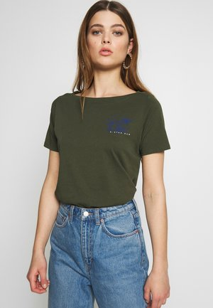 MYSID OPTIC SLIM NECK  - T-shirt imprimé - algae