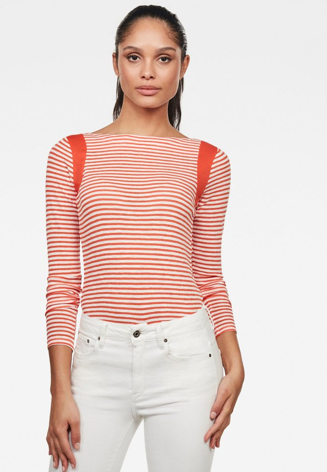 ZOVAS YD STRIPE SLIM BOAT - Longsleeve - milk/acid orange