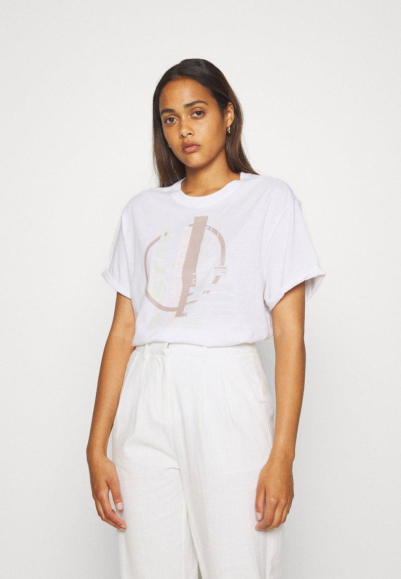 G-Star - ORIG CIRCLE LASH FEM LOOSE R T WMN S\S - Print T-shirt - white