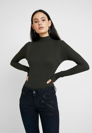 TRACTION SLIM BODY FUNNEL WMN L\S - Langærmede T-shirts - dark green