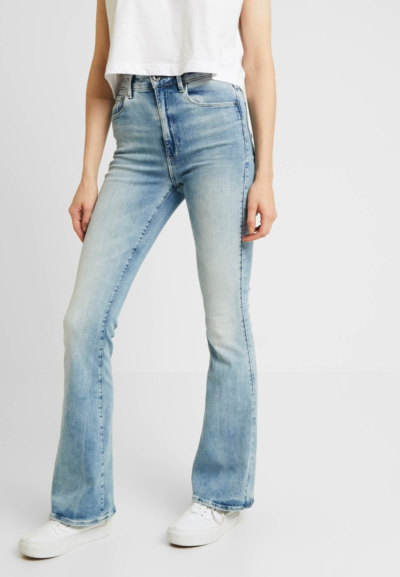 G-Star - 3301 HIGH FLARE - Flared Jeans - sun faded blue