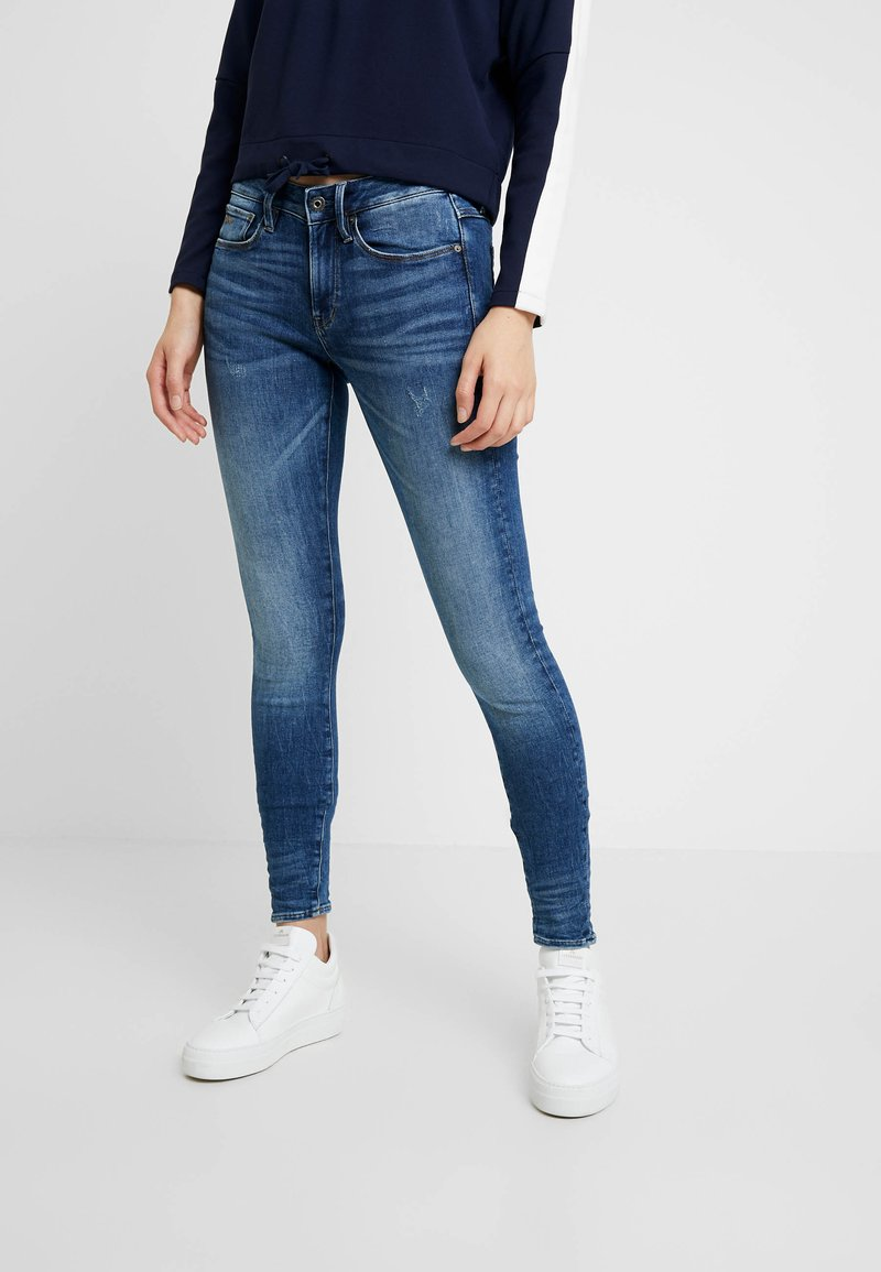 G-Star - 3301 MID SKINNY WMN - Skinny džíny - faded indigo destroyed