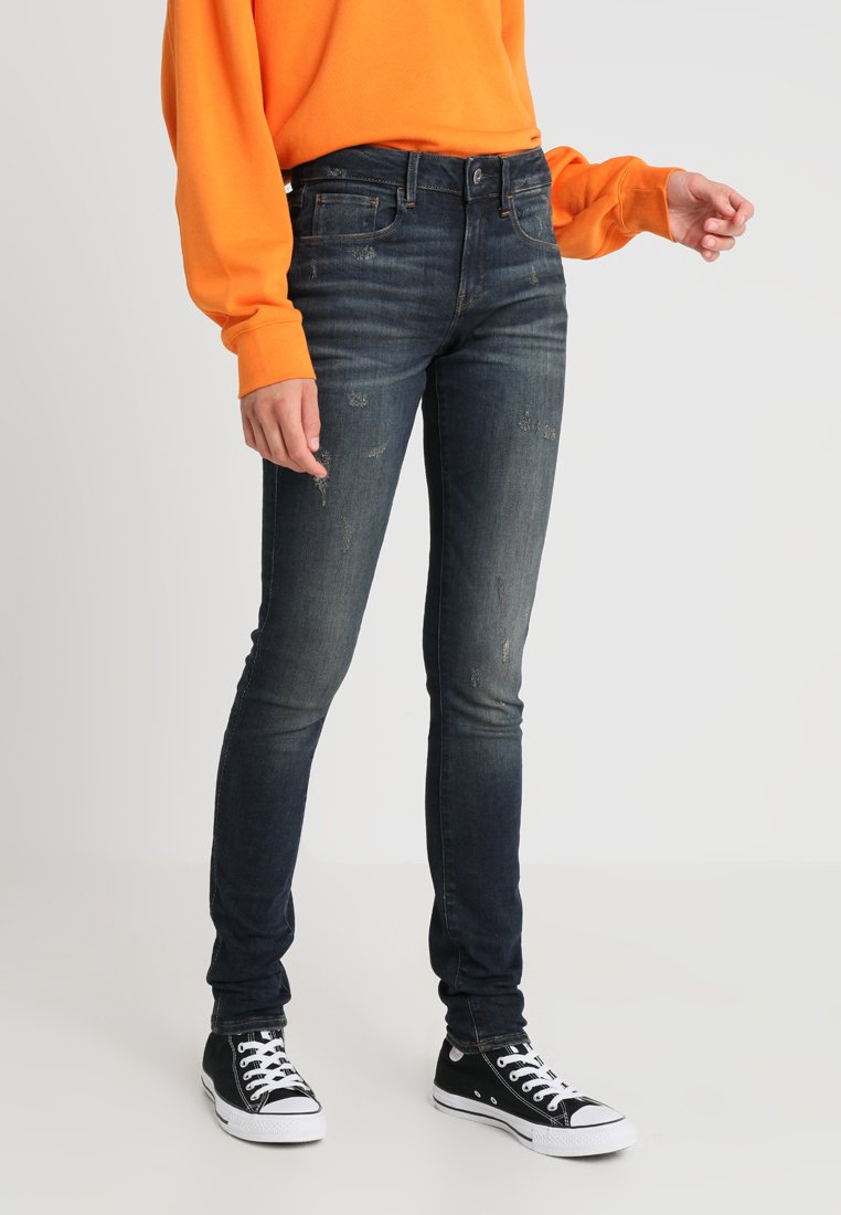 G-Star - 3301 DECONSTRUCTED MID SKINNY - Jeans Skinny Fit - dk aged antic destroy
