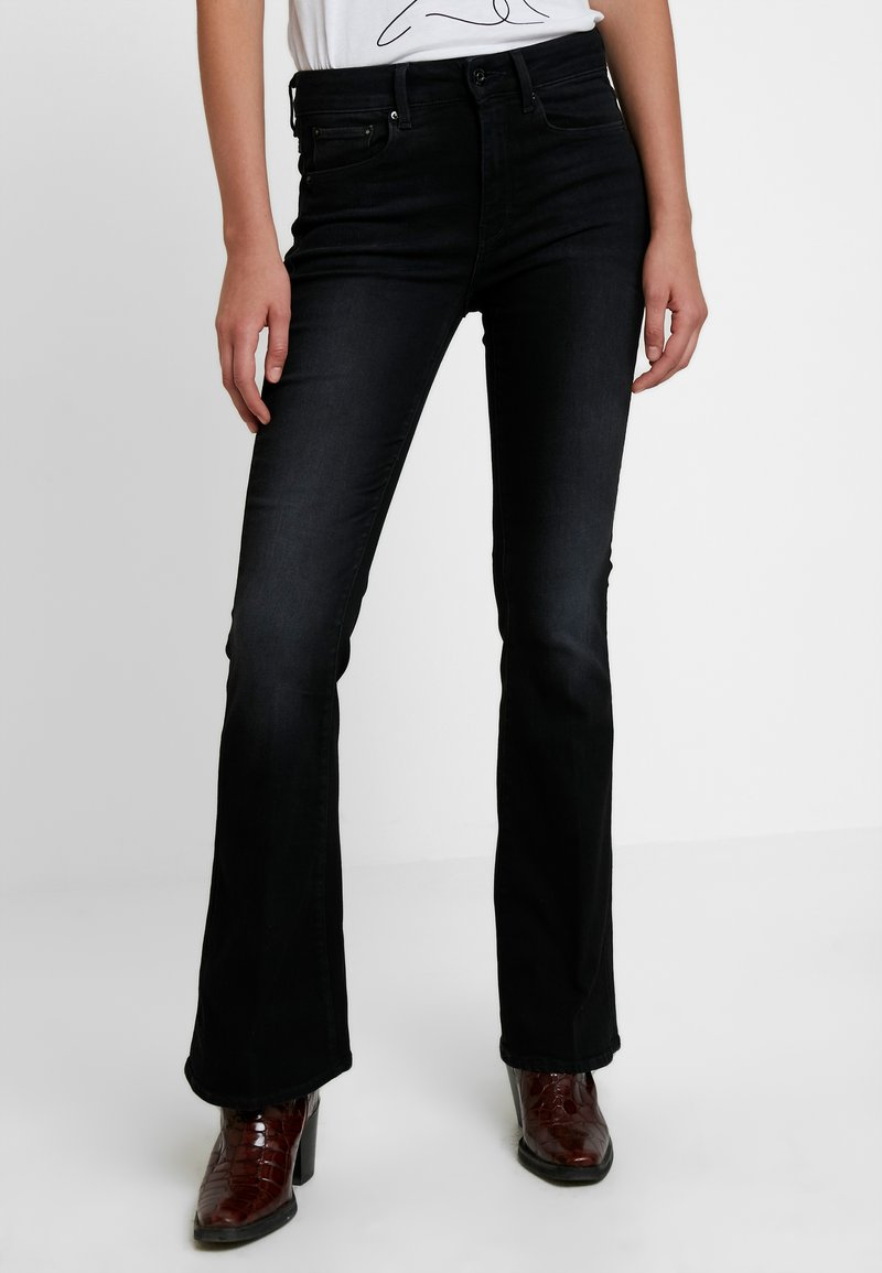G-Star - 3301 HIGH FLARE - Flared Jeans - jet black