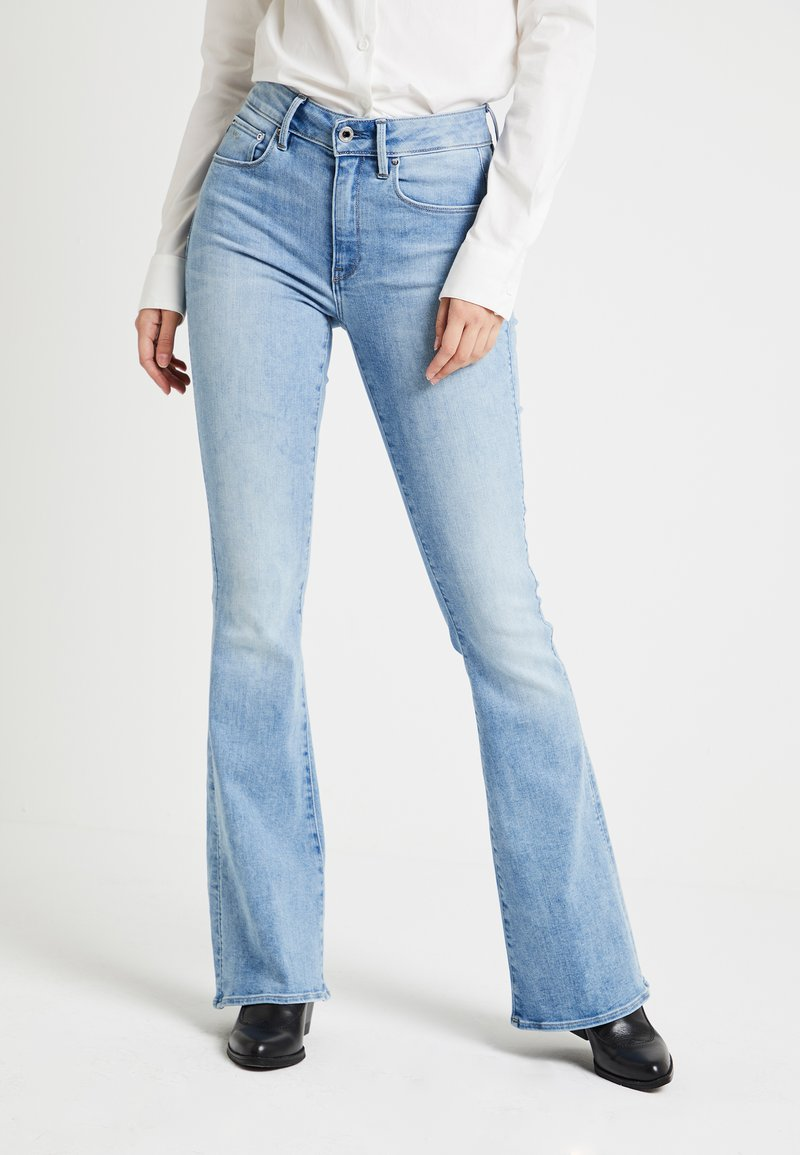 G-Star - 3301 HIGH FLARE WMN - Flared Jeans - lt aged