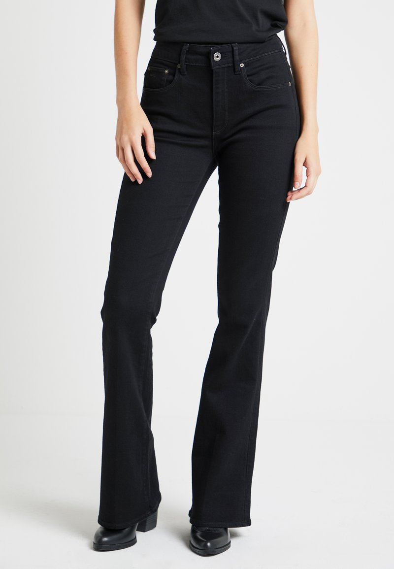 G-Star - 3301 HIGH FLARE WMN - Flared jeans - black