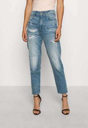 JANEH ULTRA HIGH MOM - Jeans Tapered Fit - sun faded/prussian blue restored