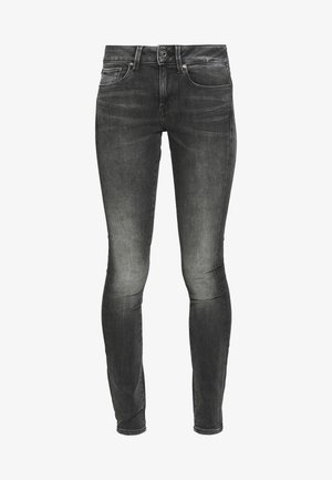 3301 MID SKINNY - Jeansy Skinny Fit - elto black superstretch antic charcoal