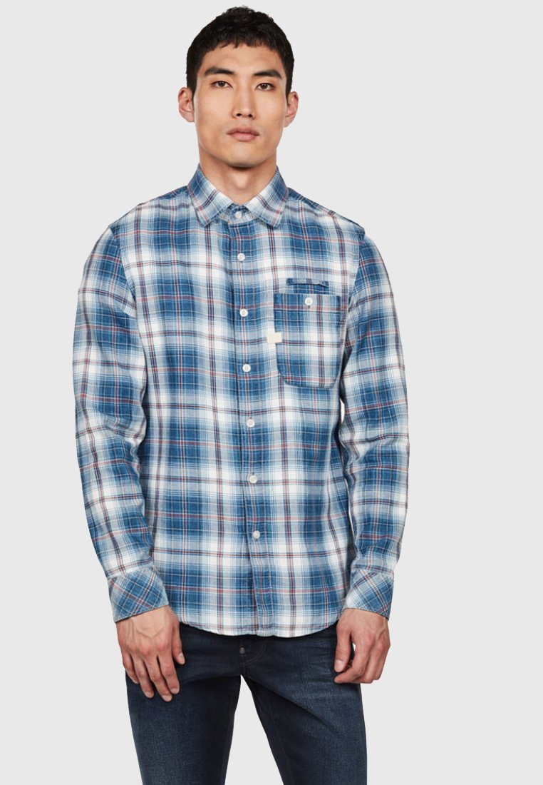 G-Star - BRISTUM 1 POCKET SLIM - Overhemd - indigo/white check