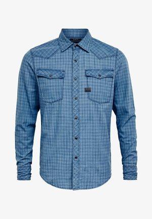 3301  SLIM SHIRT L\S SUN FADED BRONZE GREEN CHECK MEN - Shirt - blue