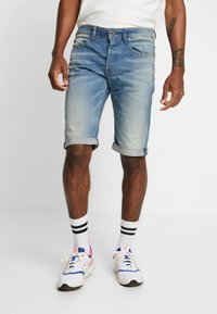 G-Star - 3301 TAPERED FIT - Jeans Shorts - cyclo stretch cenim light aged - 0