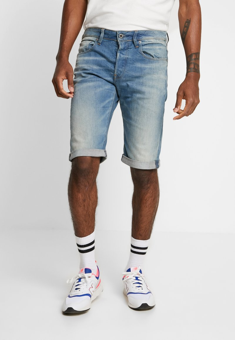 G-Star - 3301 TAPERED FIT - Jeans Shorts - cyclo stretch cenim light aged