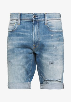 3301 SLIM SHORT - Shorts vaqueros - elto superstretch - vintage ripped striking blue