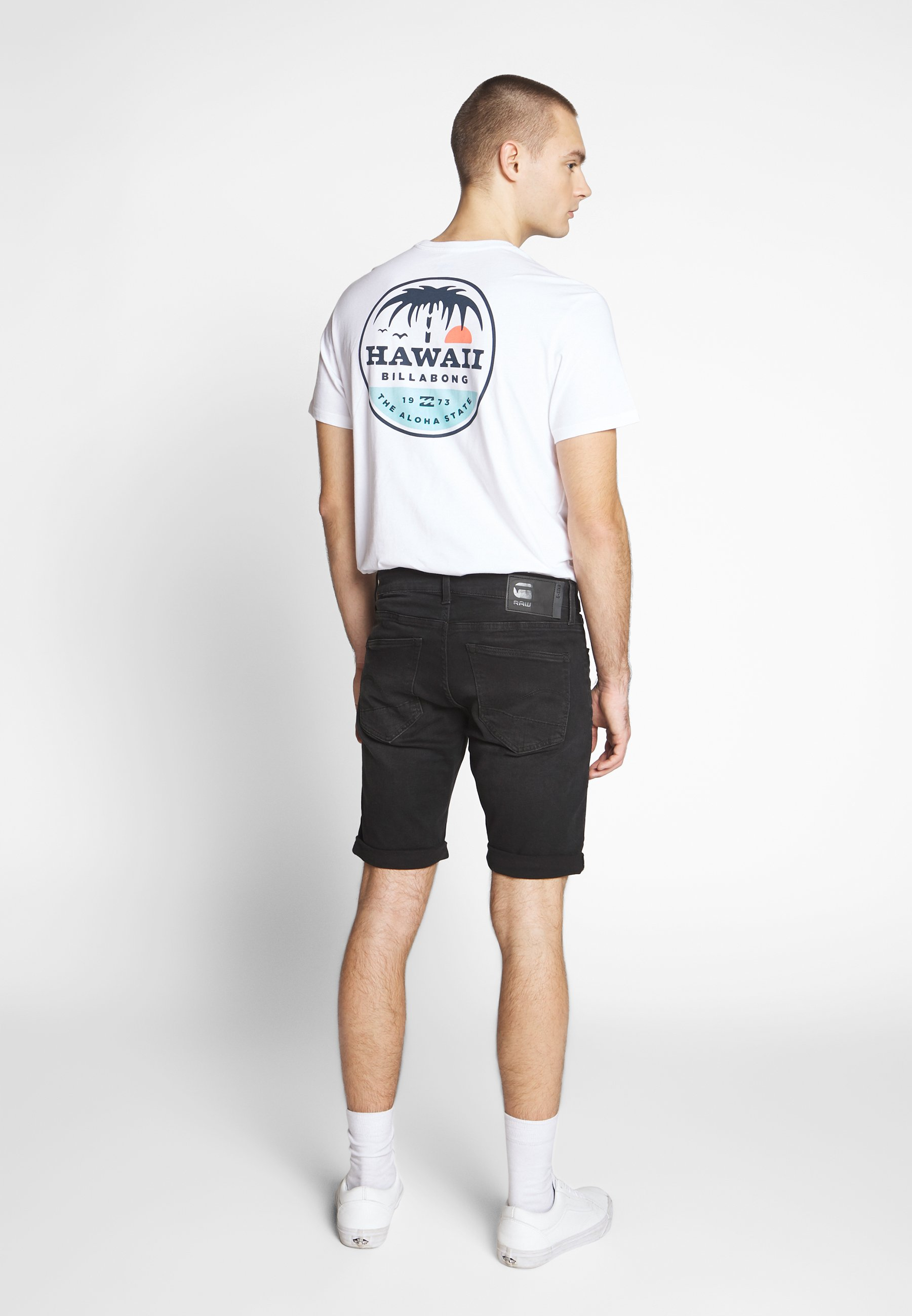 G-star 3301 Slim Short - Jeansshorts Elto Nero Black/worn In Meteor