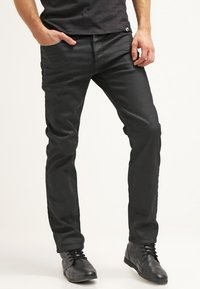 G-Star - 3301 STRAIGHT - Straight leg jeans - black pintt stretch denim - 0