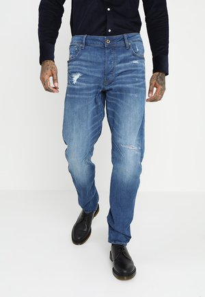 ARC 3D RELAXED TAPERED - Relaxed fit jeans - rode stretch bright denim - medium aged ripped