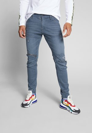 5620 3D SKINNY ZIP - Slim fit jeans - wess grey superstretch - antic ripped chert grey