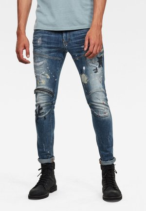 3D ZIP KNEE  - Jeans Skinny Fit - sun faded prussian blue painted