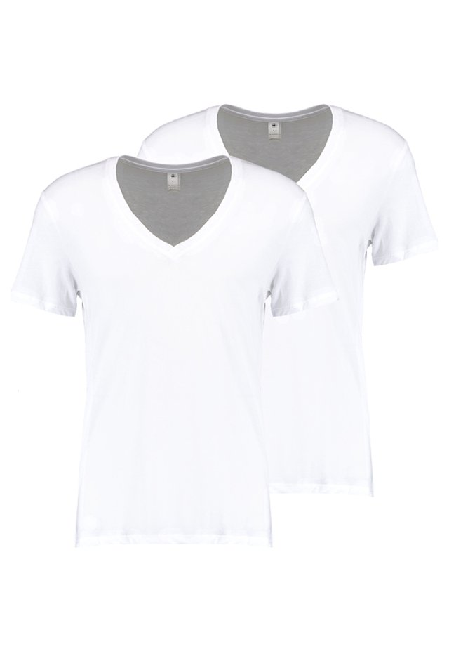 BASE HEATHER 2-PACK - T-shirts - white solid