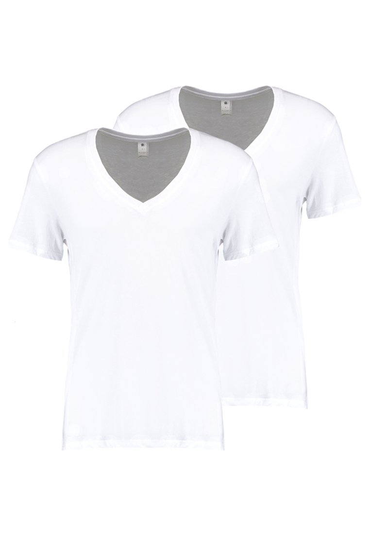 G-Star - BASE HTR V T S/S REGULAR FIT 2 PACK - T-shirt basic - white solid