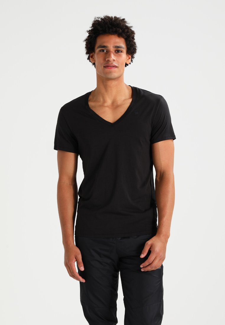 G-Star - BASE HTR V T S/S REGULAR FIT 2 PACK - T-shirt basic - solid black