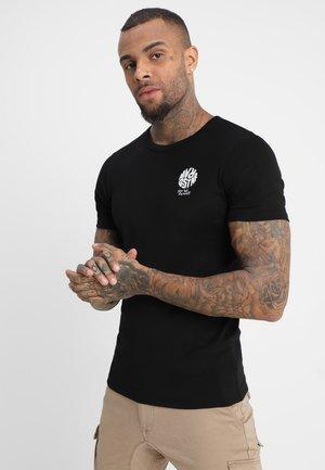 GRAPHIC 7 SLIM R T S\S - T-shirt med print - dark black