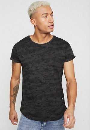 VONTONI RELAXED - Print T-shirt - raven/dark black