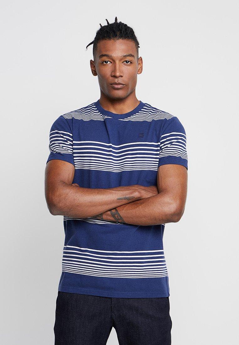 G-Star - LOAM STRAIGHT - Camiseta estampada - imperial blue/milk stripe