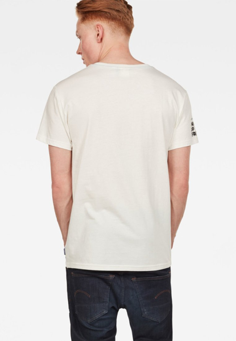 G-Star GRAPHIC LOGO - T-shirt imprimé - milk/blue