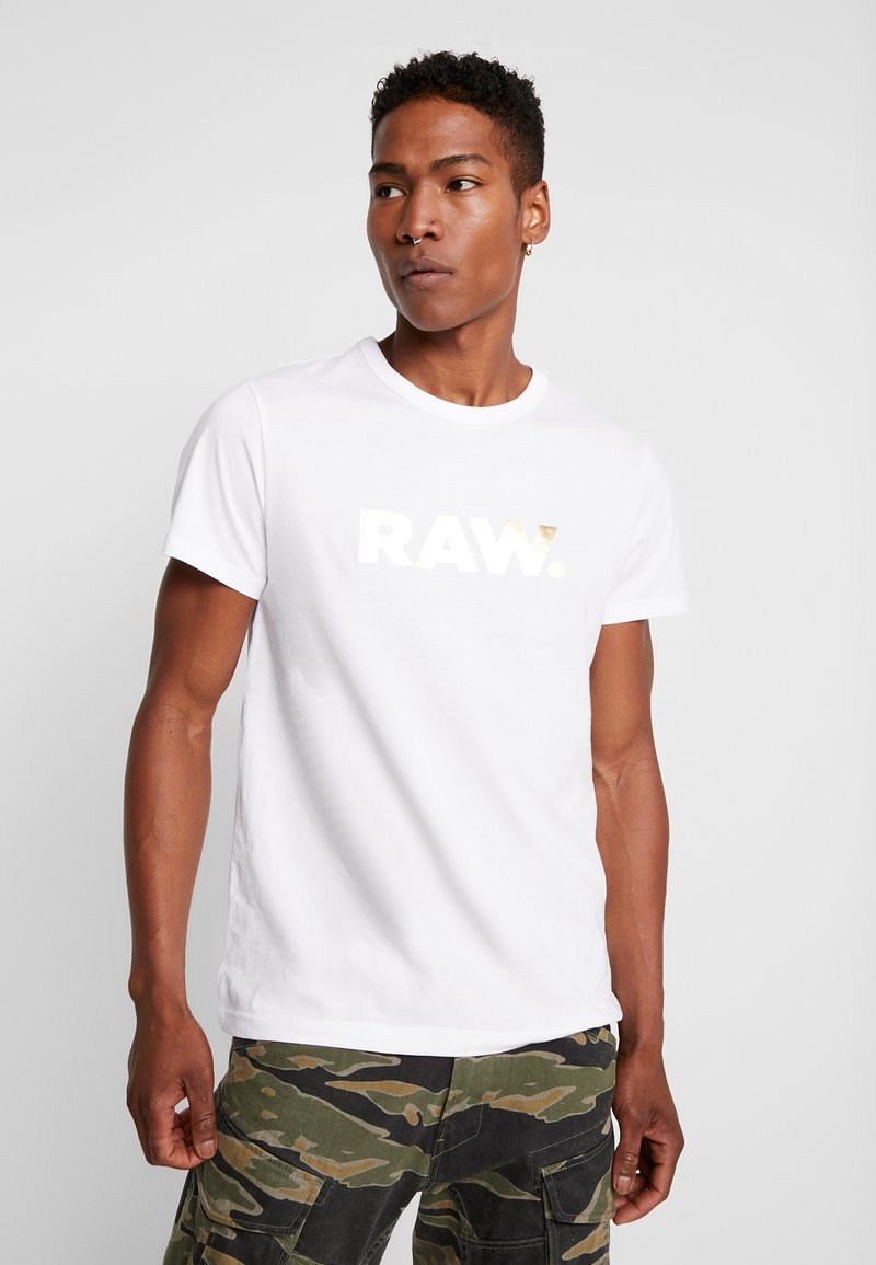 G-Star - RAW. R T S/S - Triko spotiskem - white