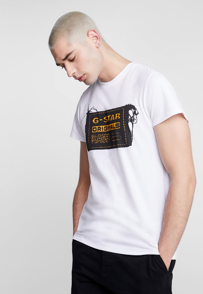 G-Star - ORIGINALS REGULAR R T S/S - T-shirt med print - white