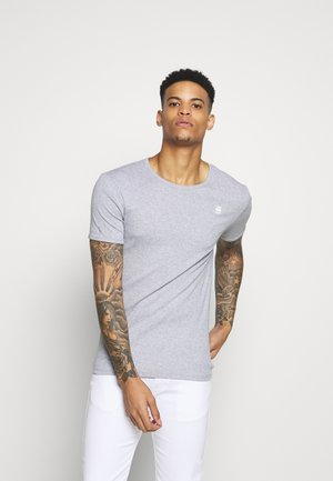 BASE R T S/S - Basic T-shirt - grey/white