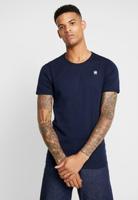 G-Star - 1X1 BASE R T S/S - Basic T-shirt - sartho blue/white - 0