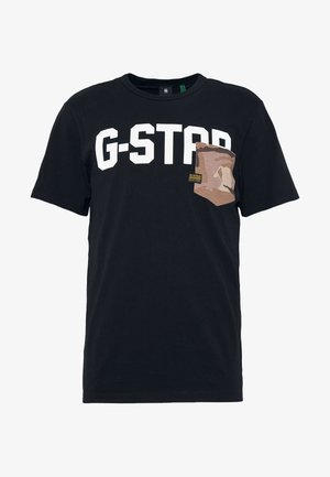 GSRAW AO POCKET R T S\S - T-shirt med print - dark black