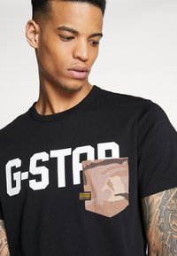 G-Star - GSRAW AO POCKET R T S\S - Camiseta estampada - dark black - 3