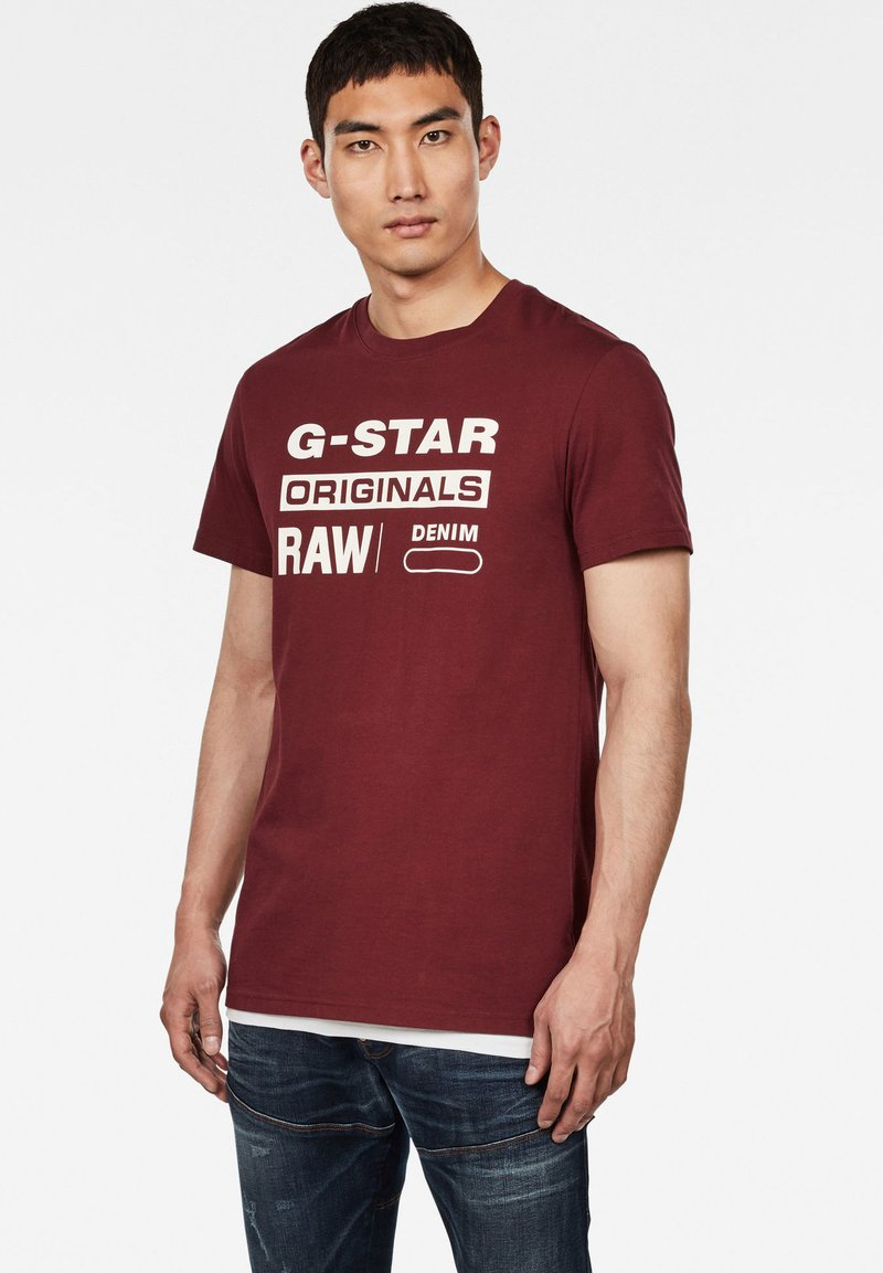 G-Star - GRAPHIC LOGO ROUND NECK - T-shirt print - port red