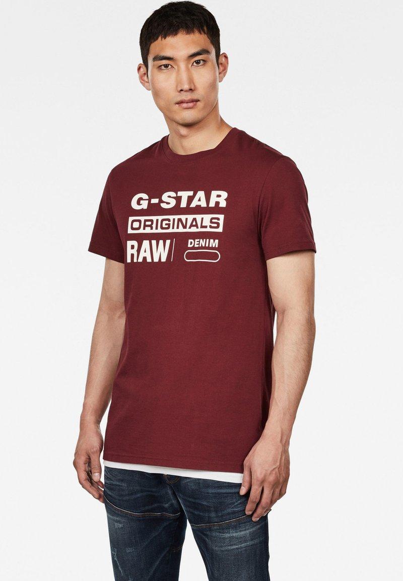 G-Star - GRAPHIC LOGO ROUND NECK - T-shirt imprimé - port red