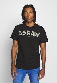 G-Star - GSRAW GR R T S\S - T-shirt med print - dark black - 0