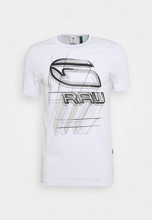 PERSPECTIVE LOGO GR SLIM - T-shirt print - white