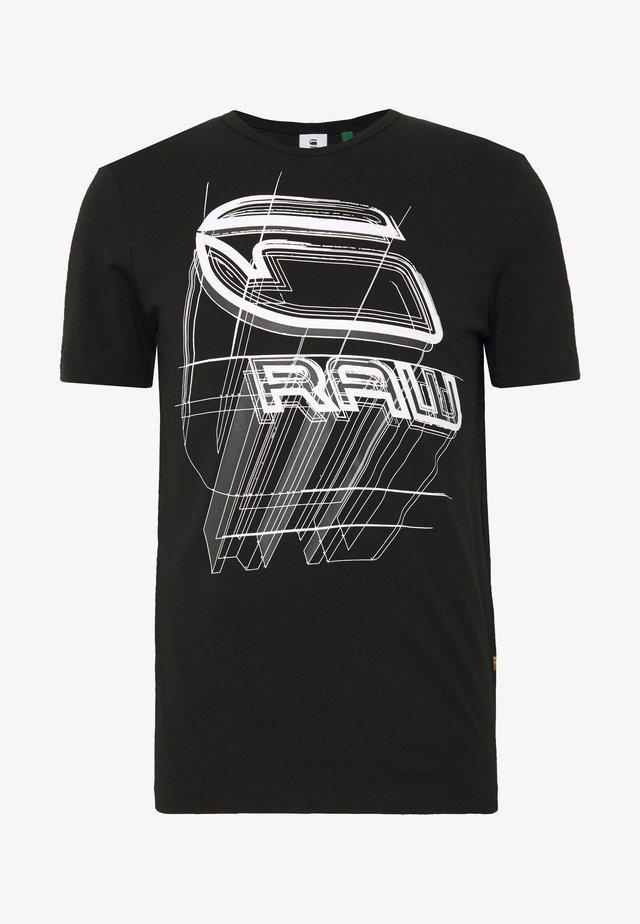 PERSPECTIVE LOGO GR SLIM - T-Shirt print - dark black