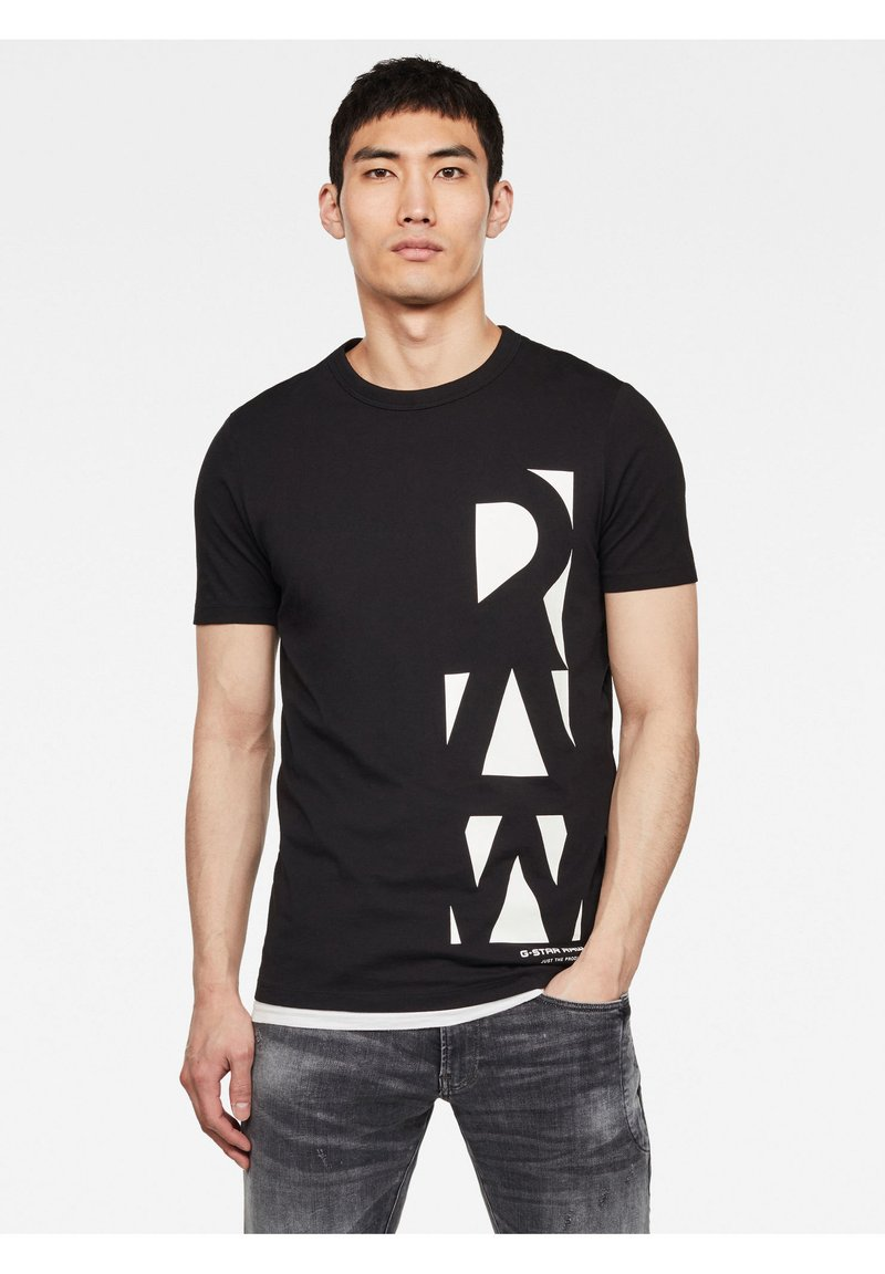 G-Star - VERTICAL RAW GR SLIM R T S\S DK BLACK MEN - T-shirt print - dk black